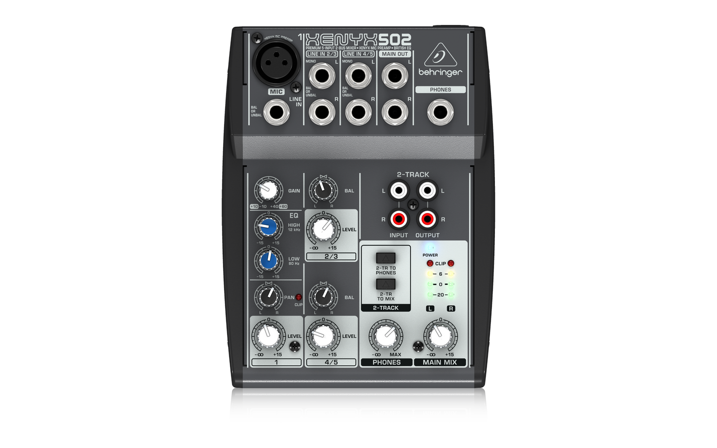 Behringer 502 5-Input 2-Bus Mixer XENYX Mic Preamp, British EQ