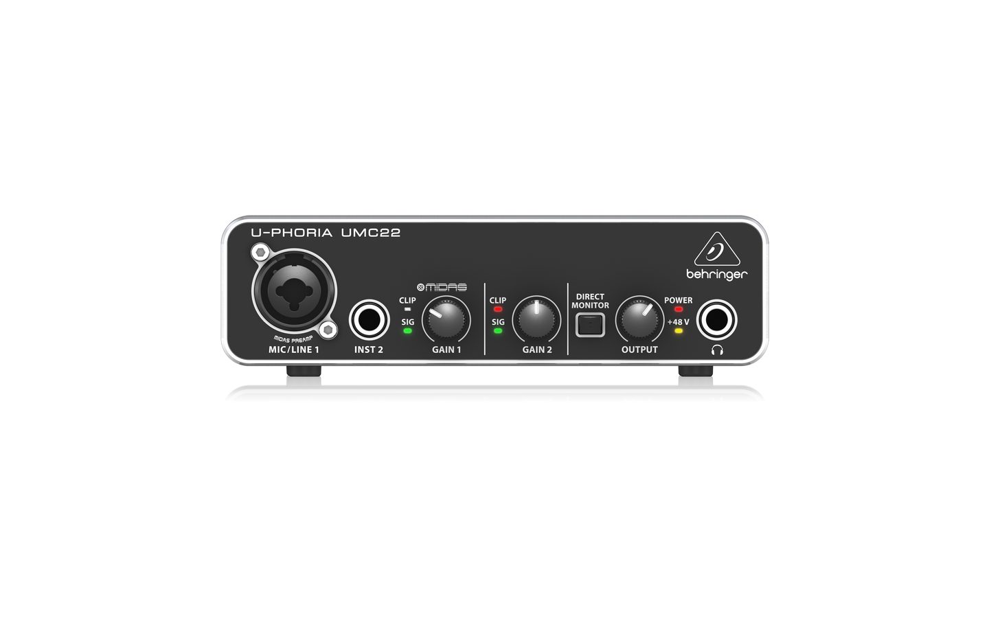 Behringer UMC22 Audiophile 2x2 USB Audio Interf. MIDAS Mic pream