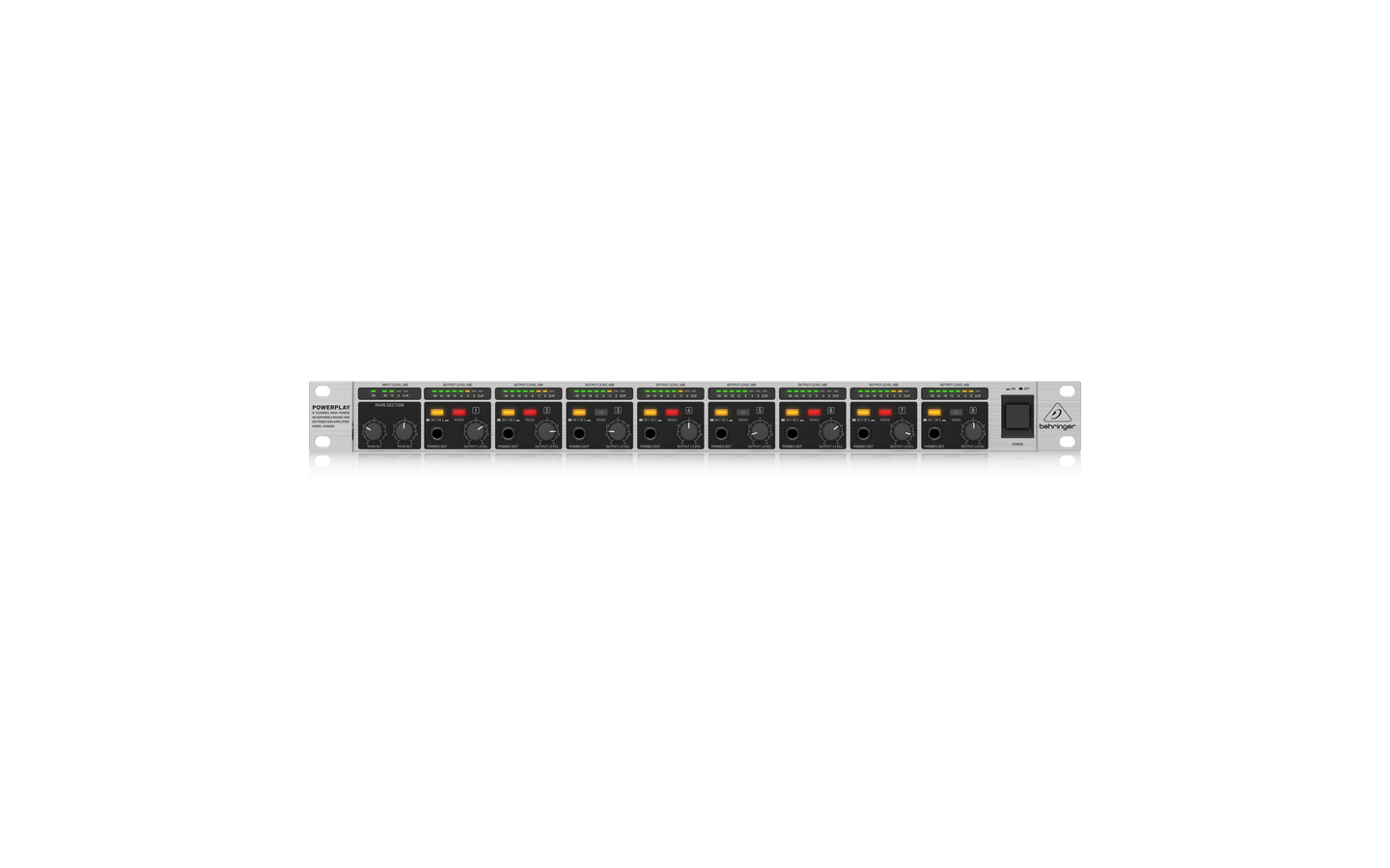 Behringer HA8000V2 8-Ch Headphone Mixing-Distribution Amp Rack